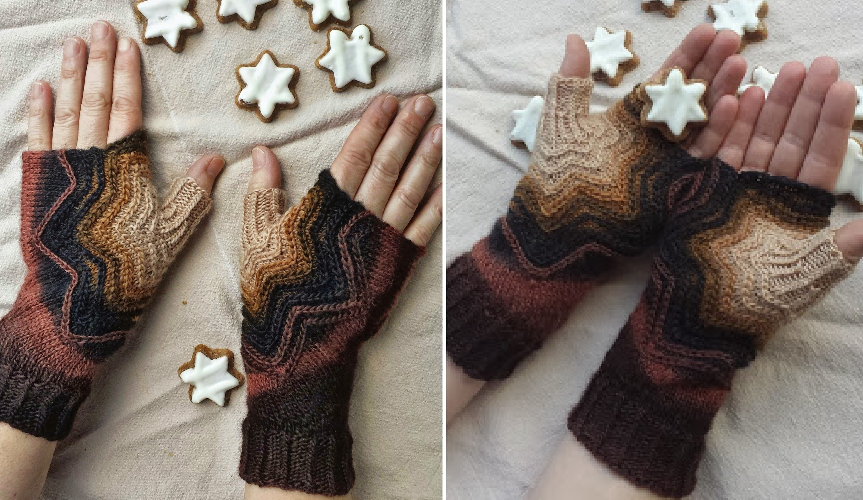 Knit Star Fingerless Mitts