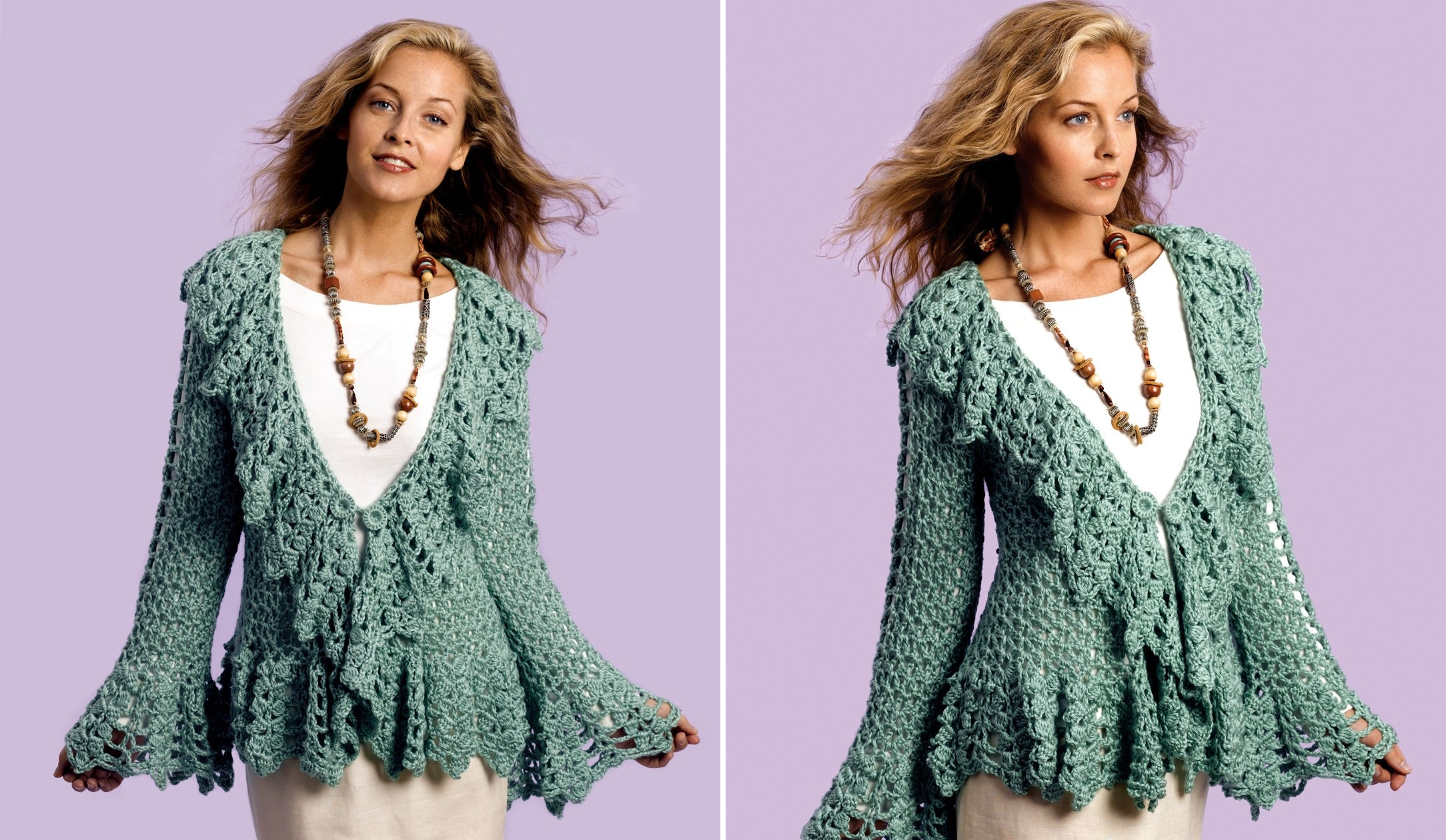 Crochet Soft Sage Circle Jacket