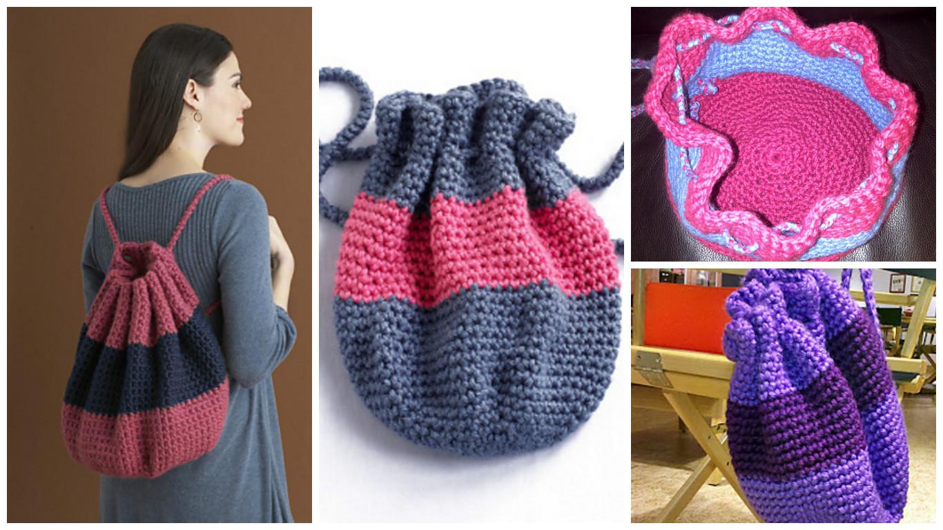 Crochet Drawstring Backpack