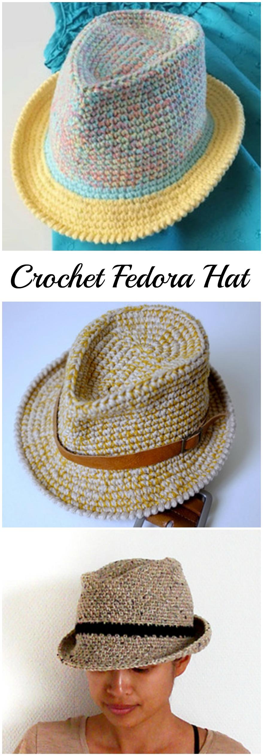 9c42842941a Crochet Fedora Hat (Video+Pattern) - Pretty Ideas