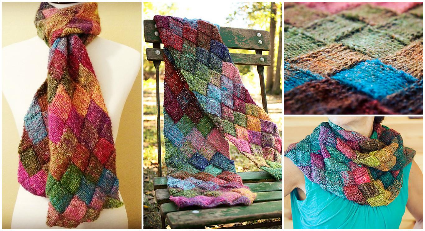 Knitting Pattern For Entrelac Shawl : Knit Entrelac Scarf