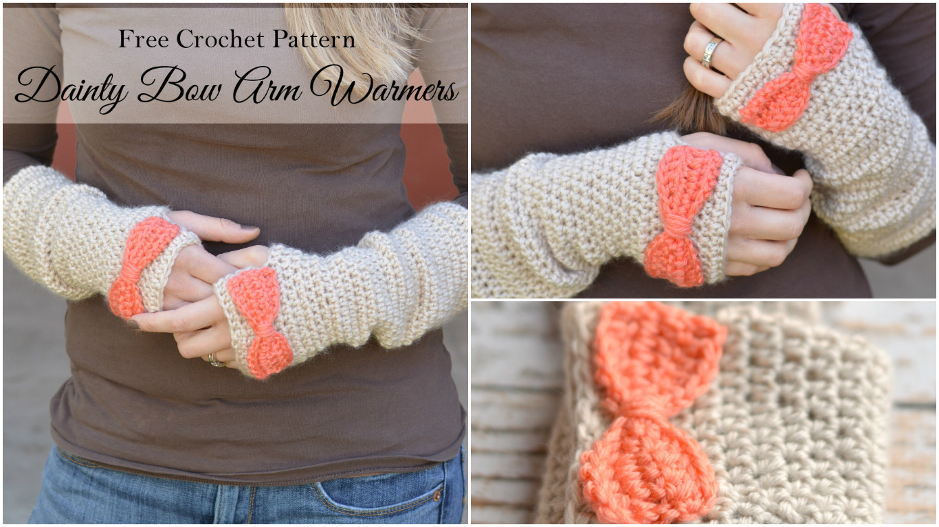 Crochet Bow Arm Warmers - Pretty Ideas