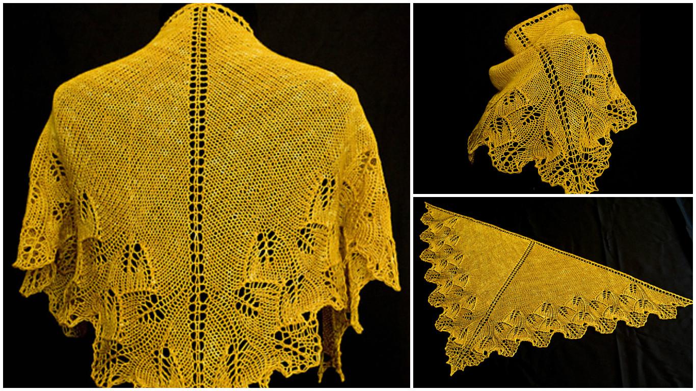 Ginkgo Leaf Knitting Pattern : Ginkgo Shoulderette Shawl