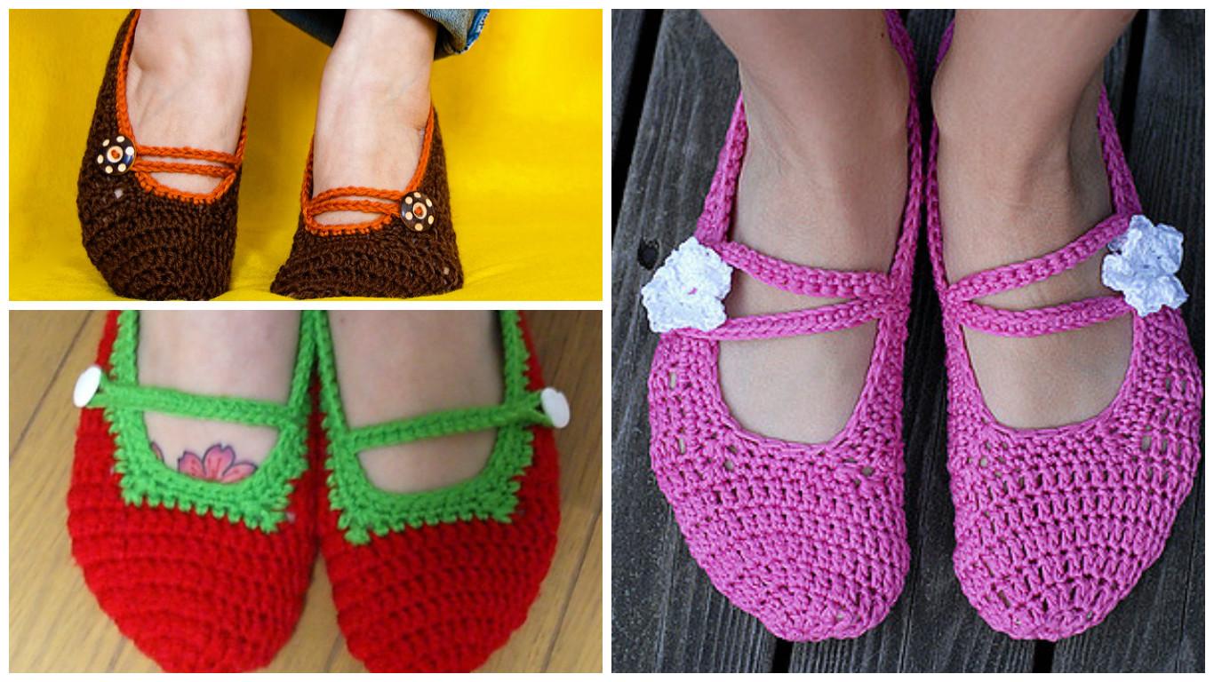 Crochet Mary Jane Slippers