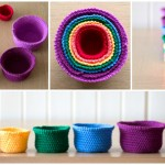 Crochet Set Of Rainbow Baskets