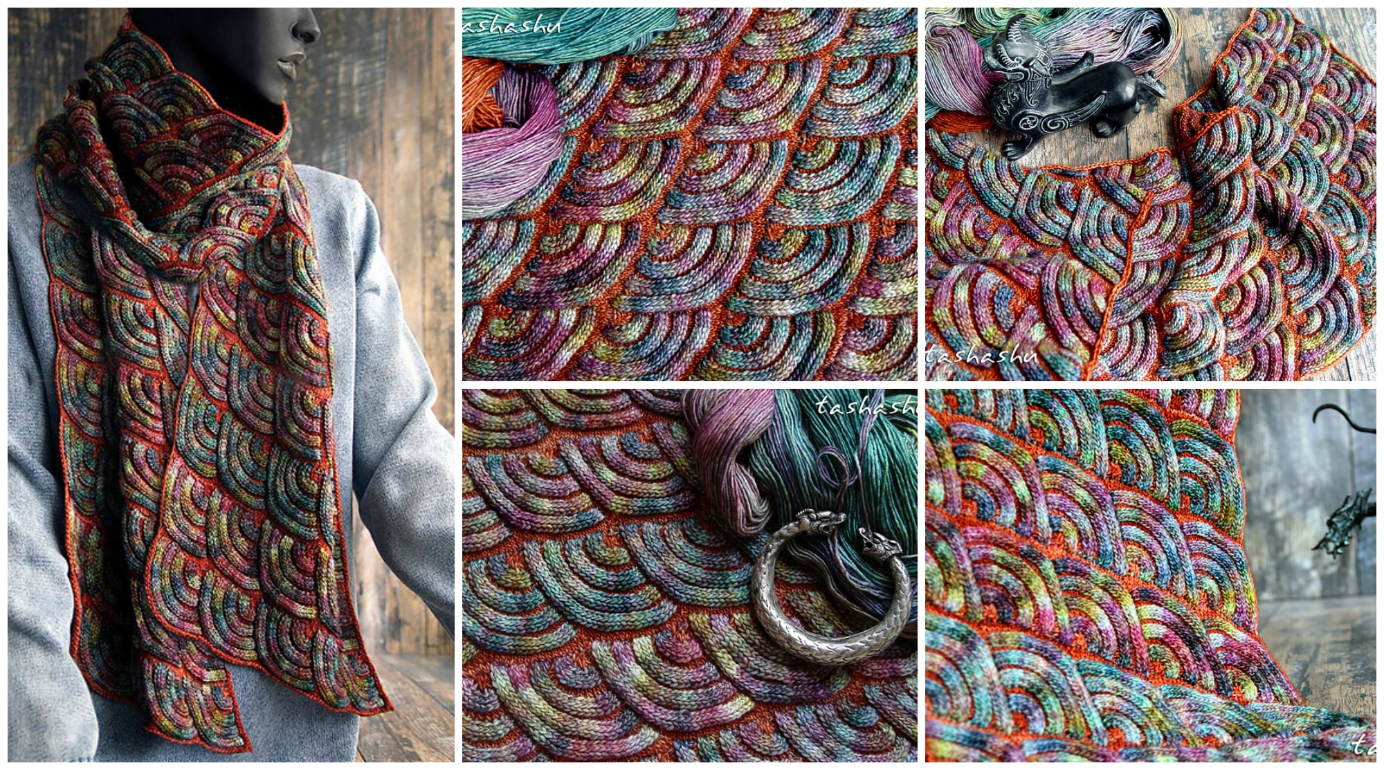 Knit Jewel Dragon Scarf
