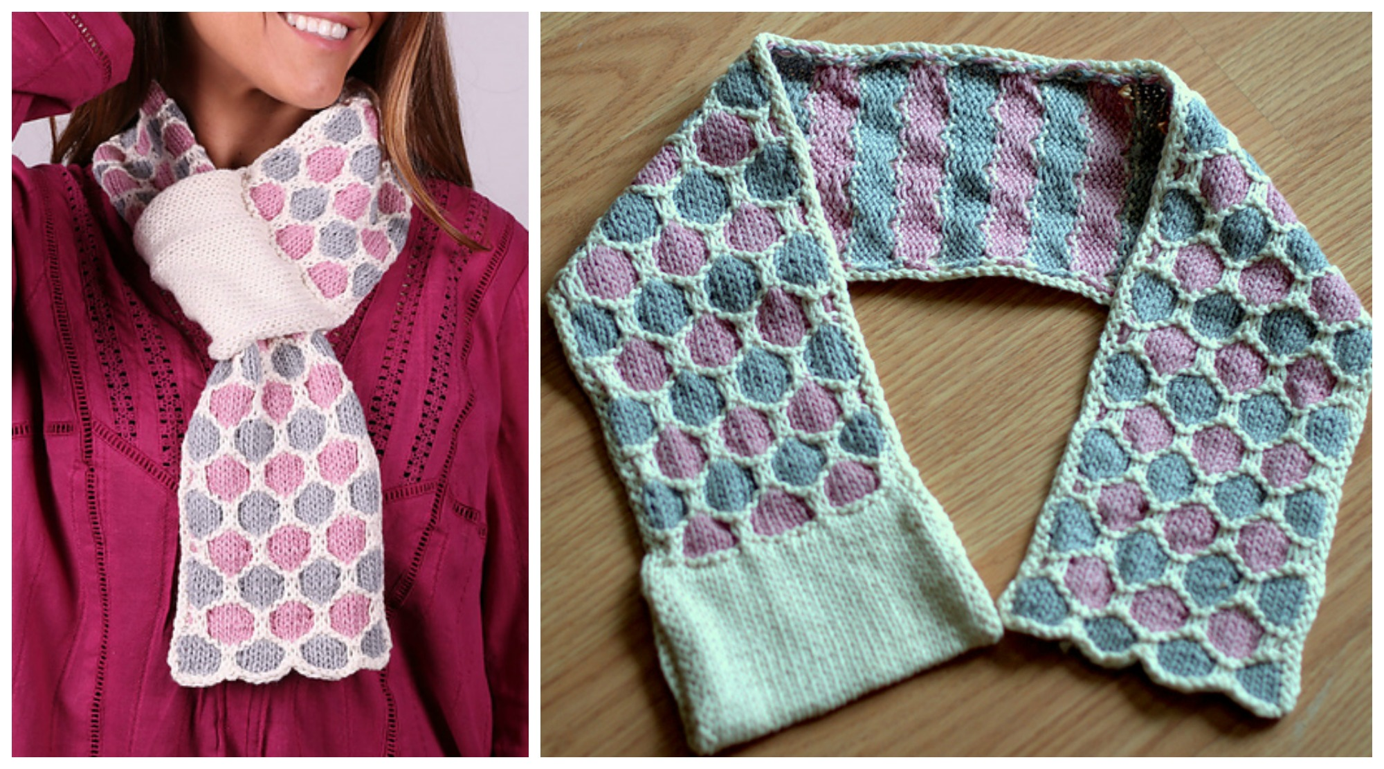 Knit Honeycomb Scarf