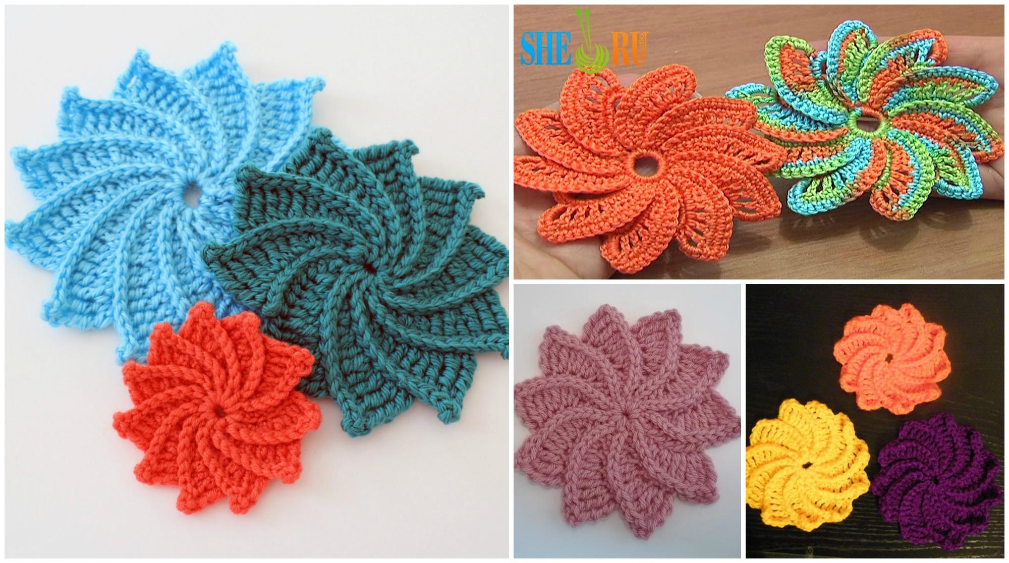 Spiral Crochet Flower Pattern Free : Crochet Spiral Flower