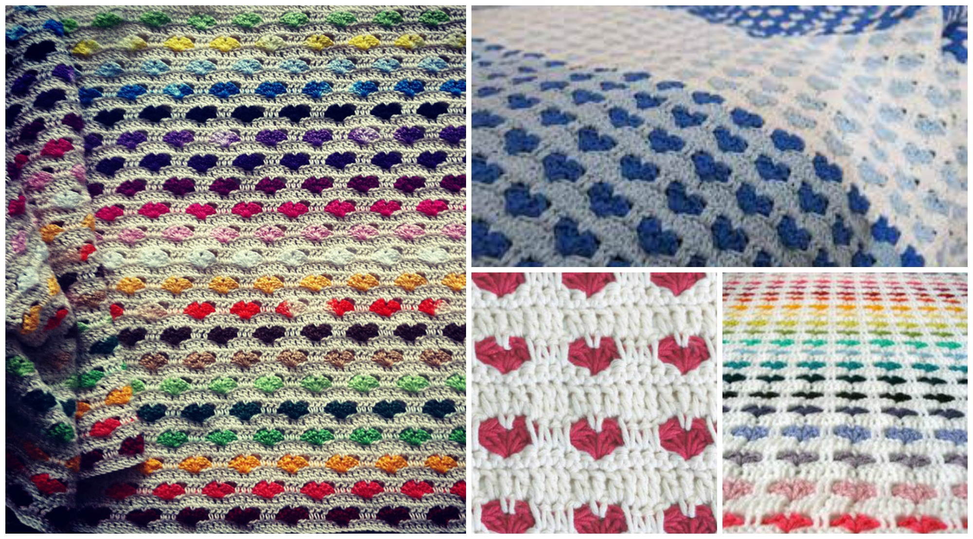 Crochet Heart Stitch Blanket - Video Tutorial - PRETTY IDEAS