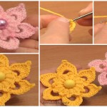 Crochet Puff Stitch Center Flower