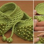 Beaded Crochet Baby Shoes