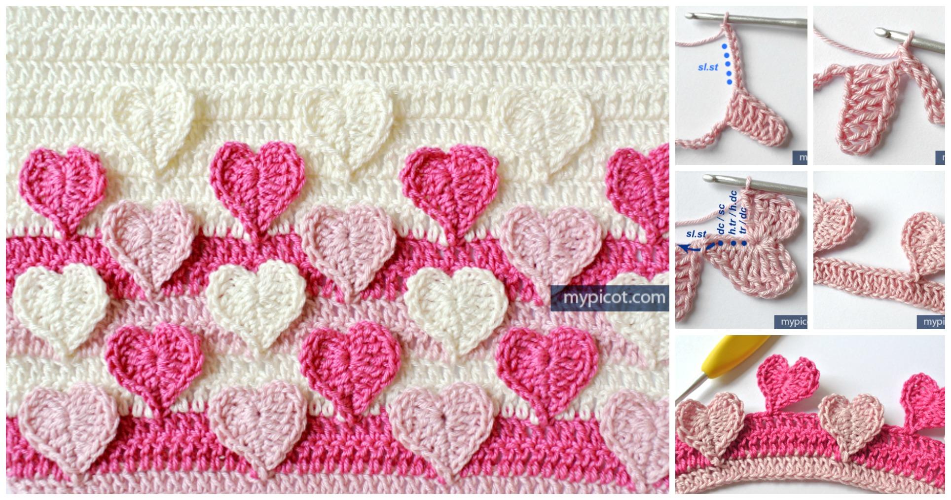 Hearts Multicolored Crochet Stitch Pattern - Pretty Ideas