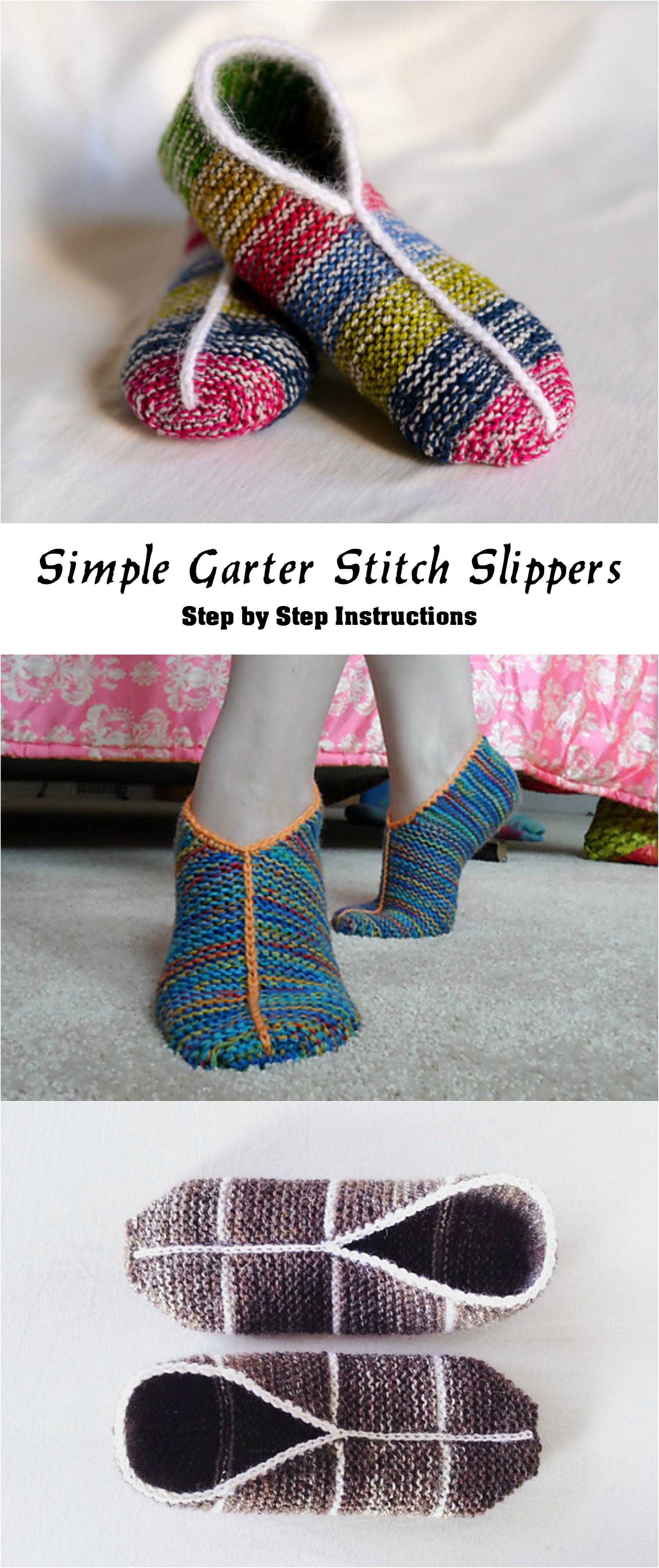 Knit Simple Garter Stitch Slippers - Pretty Ideas
