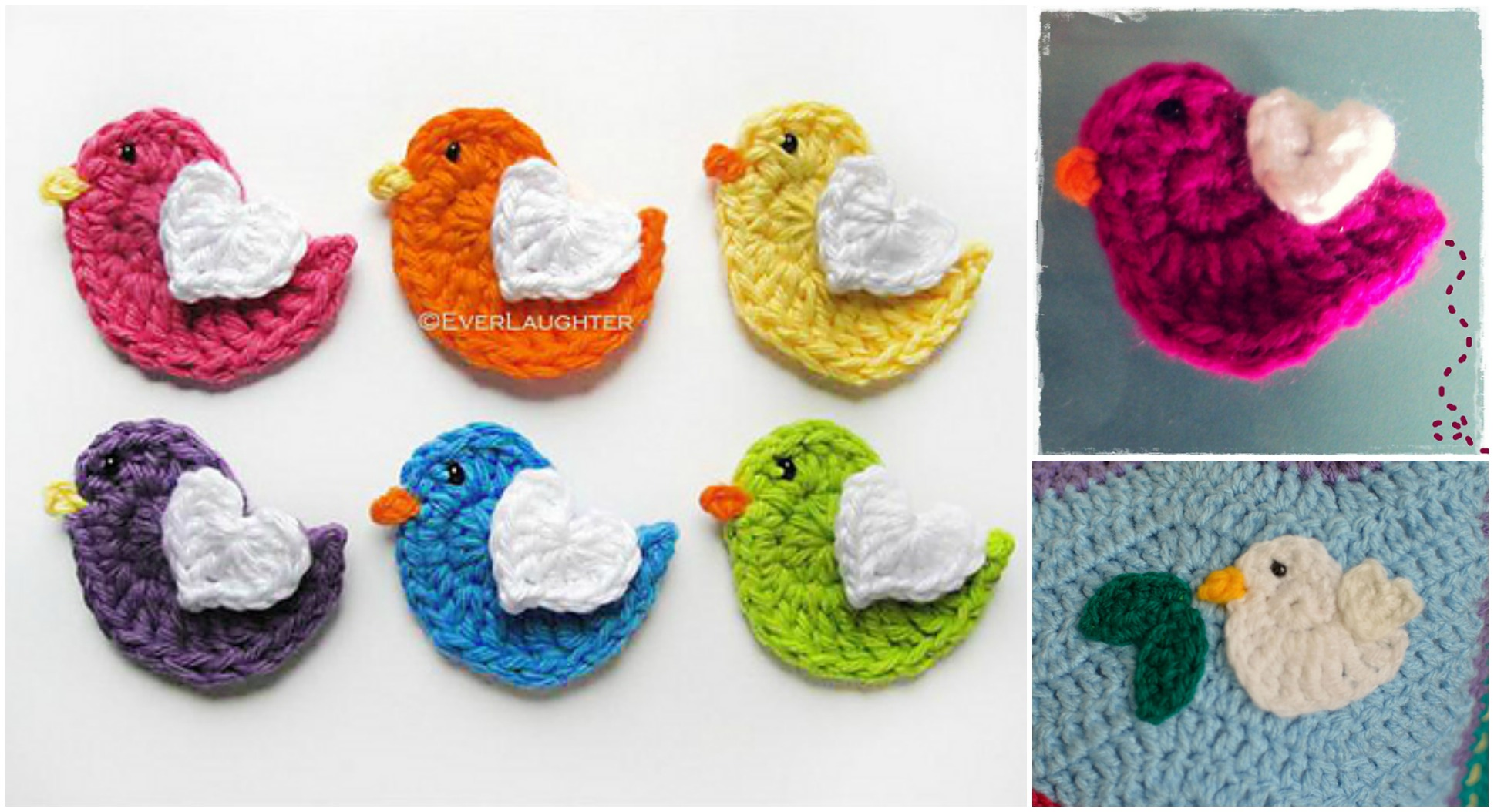 Crochet Lovely Bird Applique - Pretty Ideas