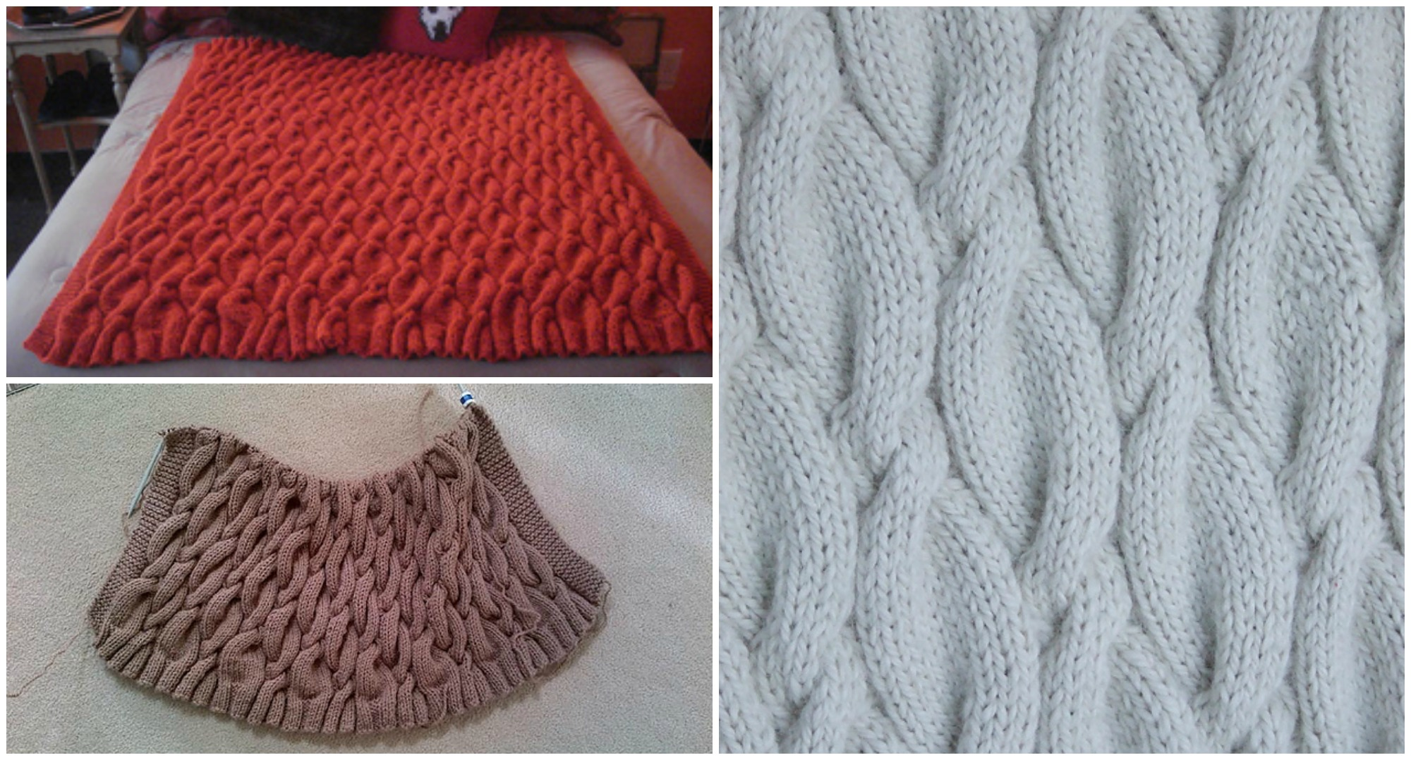 Chunky Cable Knit Blanket Pattern : Knit Chunky Cable Blanket