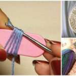 Crochet around a popsicle stick to create broomstick lace stitch