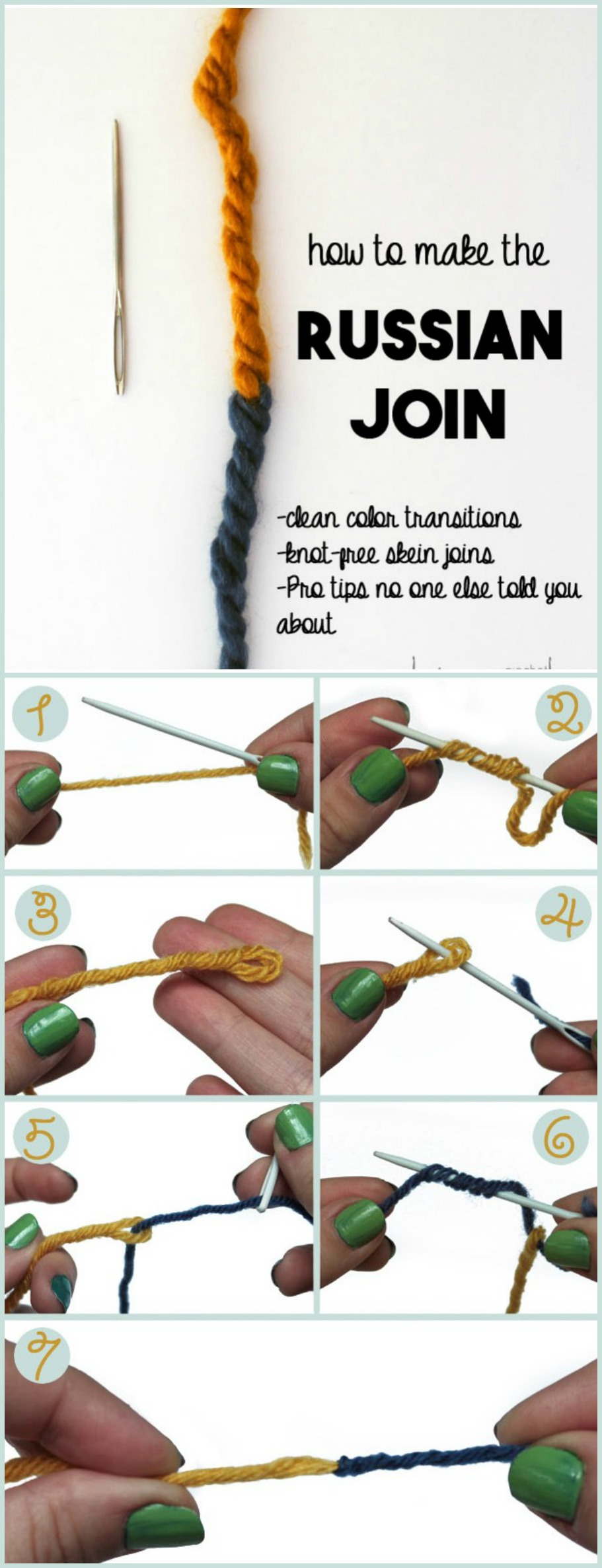 Knitting Russian Join Tutorial : How to join yarns pretty ideas