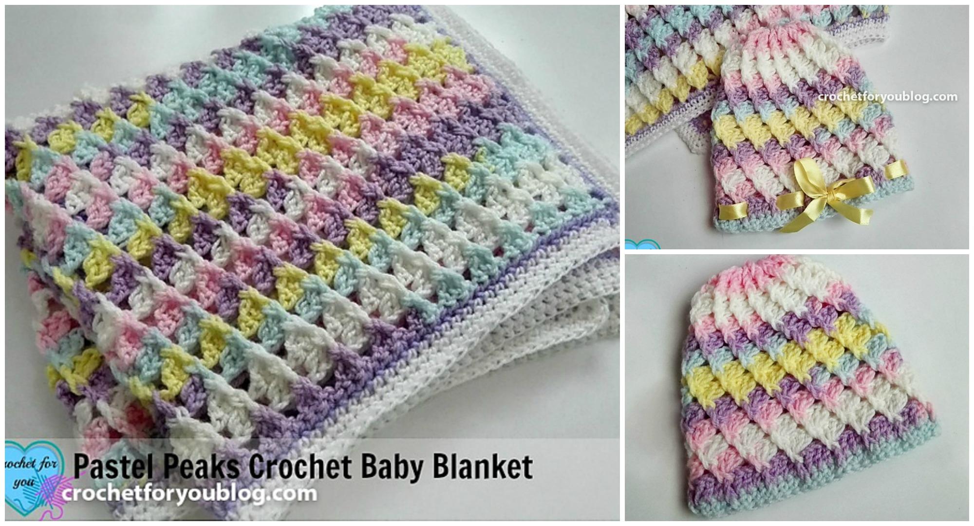 Pattern For Pastel Peaks Baby Blanket & Hat - Pretty Ideas