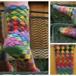 Knit Rainbow Patch Socks
