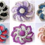 Crochet Flower Brooches