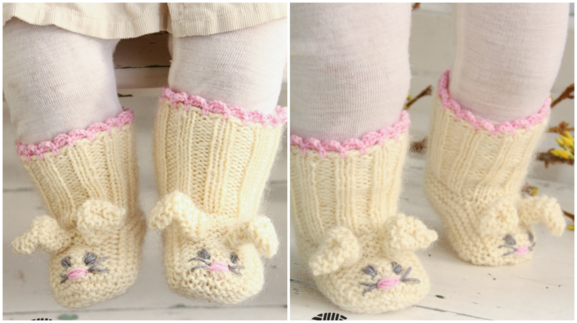 Knit Bunny Booties - Pretty Ideas
