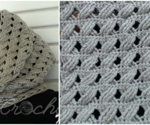 Crochet Cable Stitch Infinity Scarf