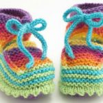 Knit Rainbow Booties