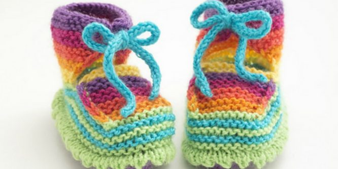 Knit Rainbow Booties
