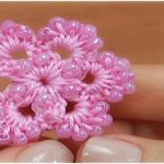 Crochet Six Petal Beaded Flower