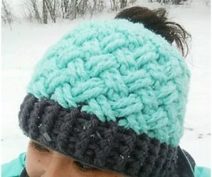 Celtic Weave Messy Bun hat