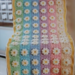Crochet Rainbow Afghan Blanket With Flowers