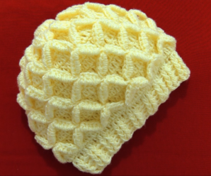 Crochet Hat With 3D Diamonds