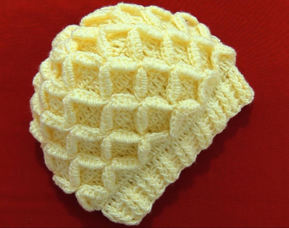 Crochet Hat With 3D Diamonds - Pretty Ideas 568482c3378