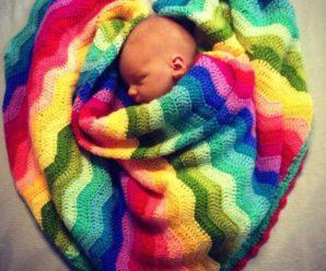 Crochet Rainbow Ripple Stitch Blanket