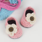 Crochet Booties With Buttoned Flower