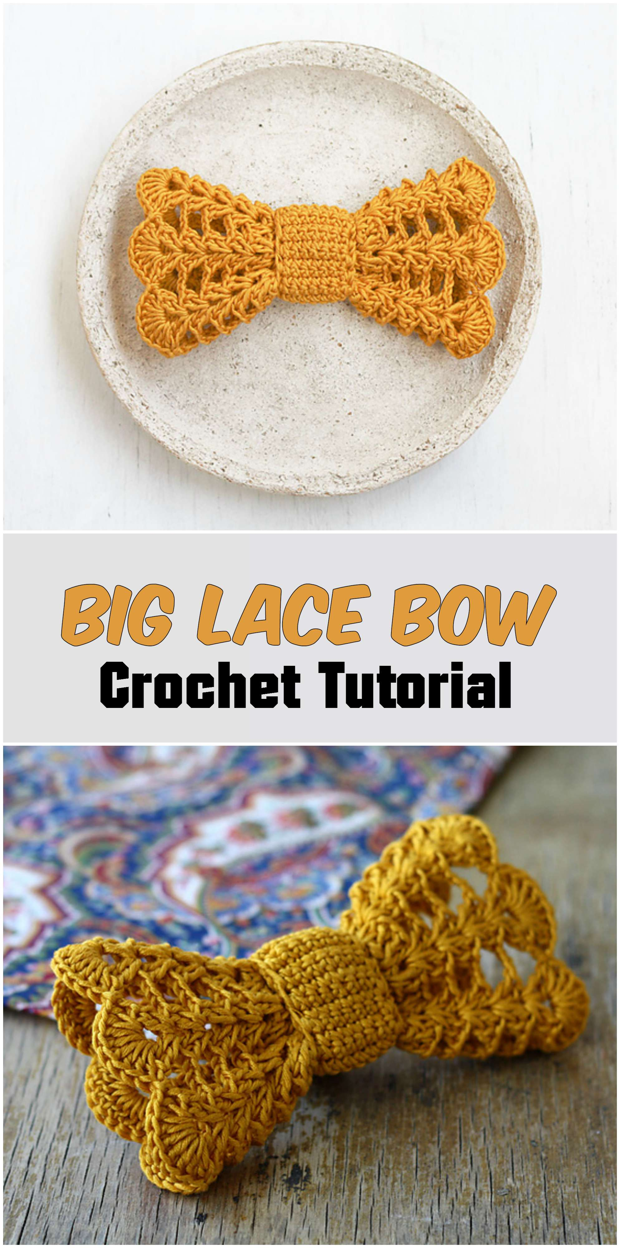 Big Lace Crochet Bow - Pretty Ideas