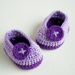 Crochet Violet Butterfly Baby Booties