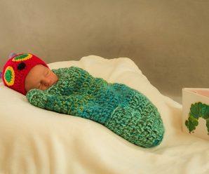 Crochet Caterpillar Baby Bunting
