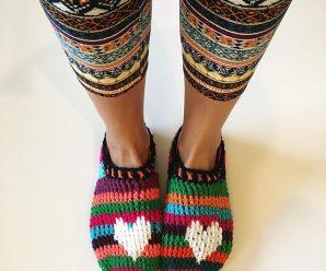Crochet Heart & Sole Slippers