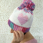 Crochet Heart Showers Beanie