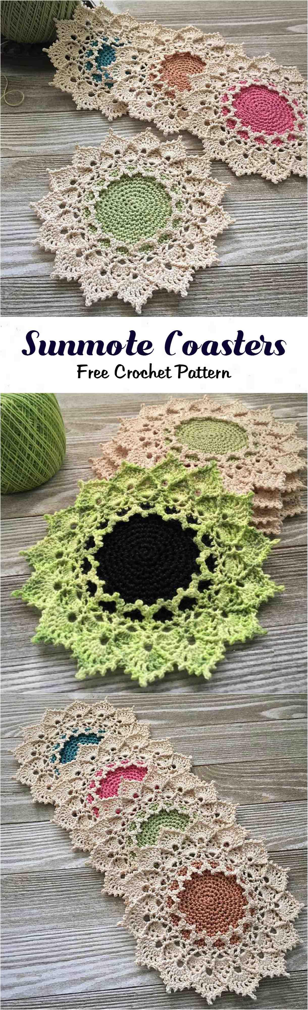 Crochet Sunmote Coasters with free written pattern