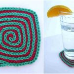 Crochet Square Spiral Coasters