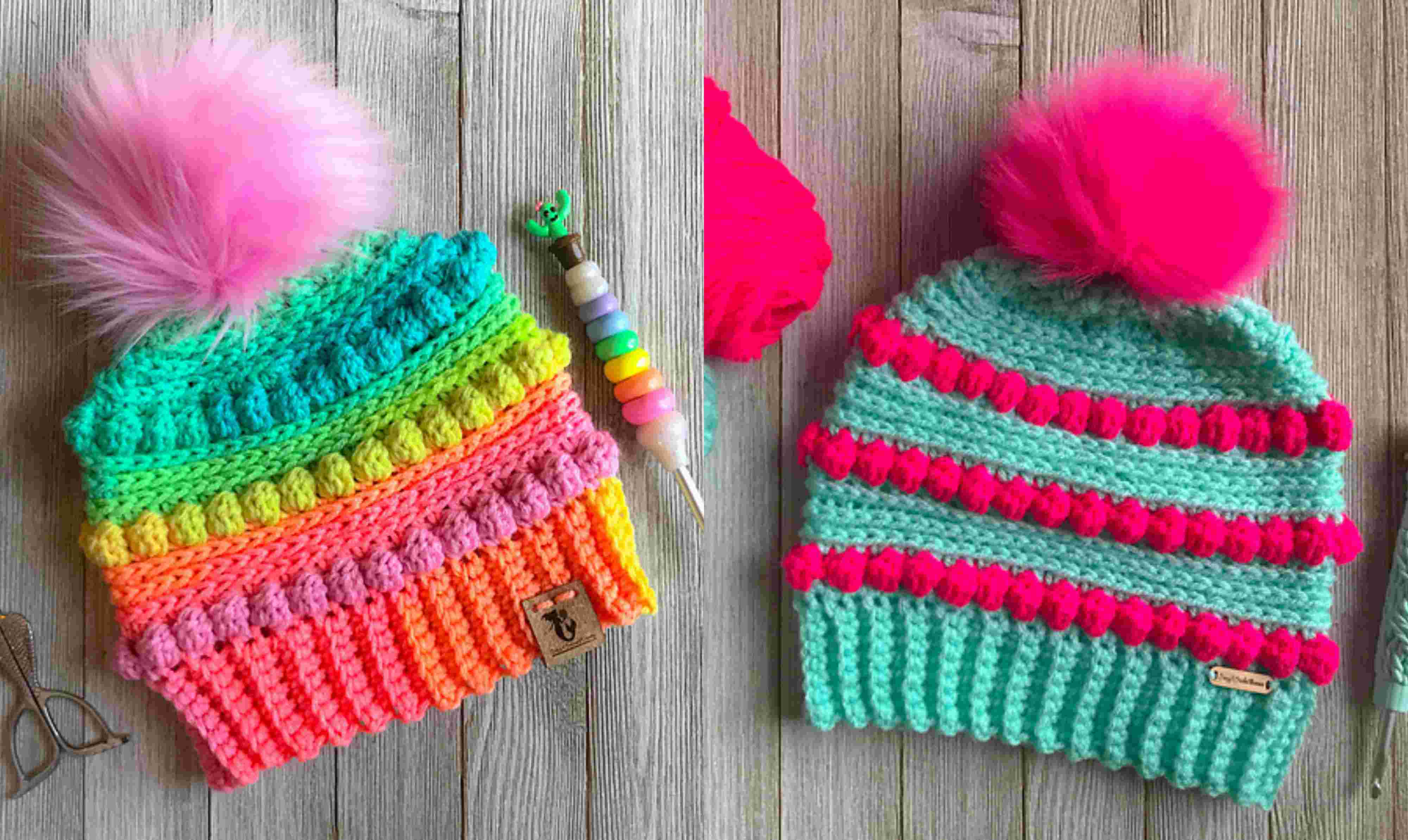 Crochet Bubblegum Pop Beanie With Free Written Pattern