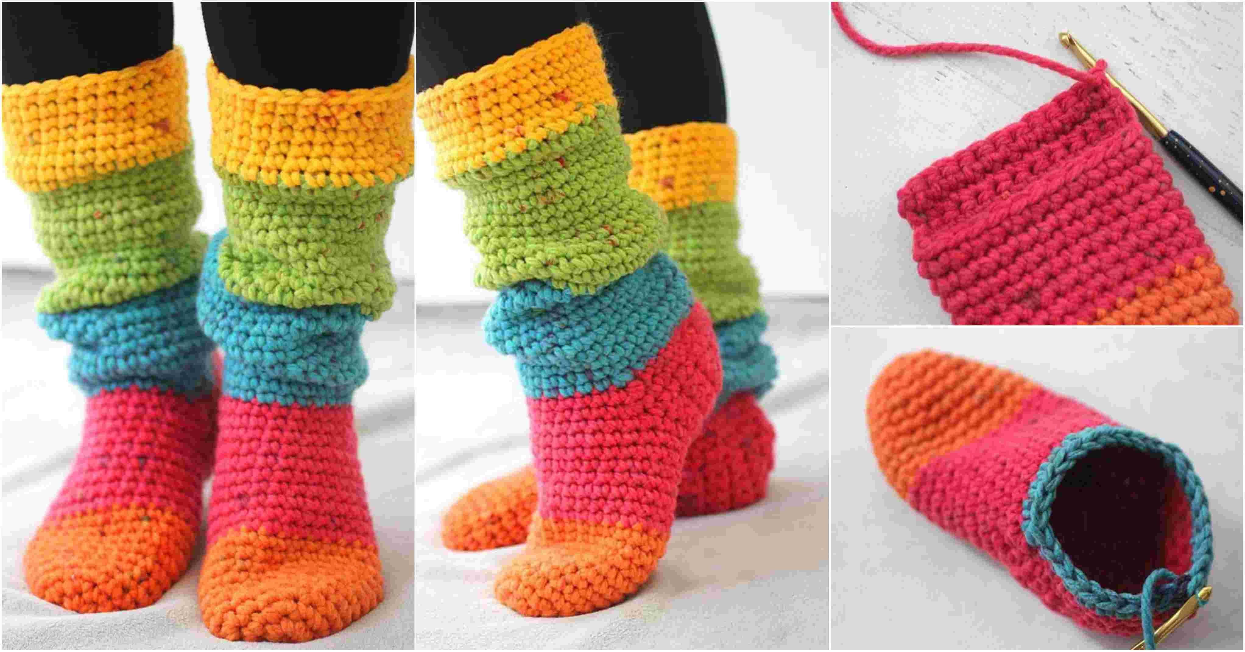 Crochet Slouchy Slipper Socks