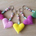 Crochet Heart Keyring