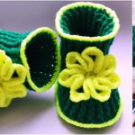 Crochet Green Baby Booties