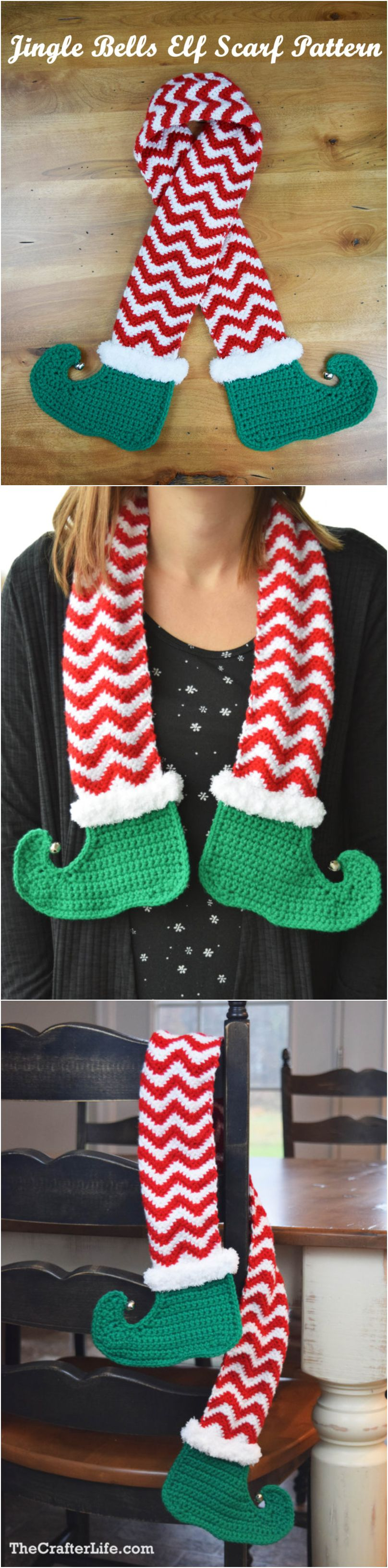 Crochet Jingle Bells Elf Scarf - Pretty Ideas