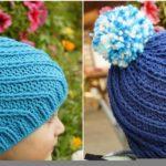 Crochet Swirly Hat With Pompom