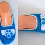 Crochet Home Slippers with Flowers