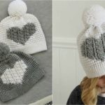 Crochet Cable Heart Hat